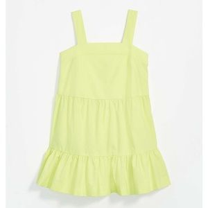 LOFT Beach Tie Back Ruffle Dress Lime Yellow